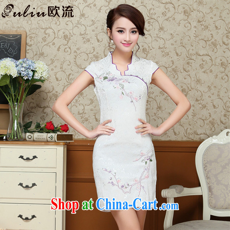 euro-china wind dress embroidery Phillips-head short cheongsam improved day-dress cheongsam dress AQE 329 white XXL