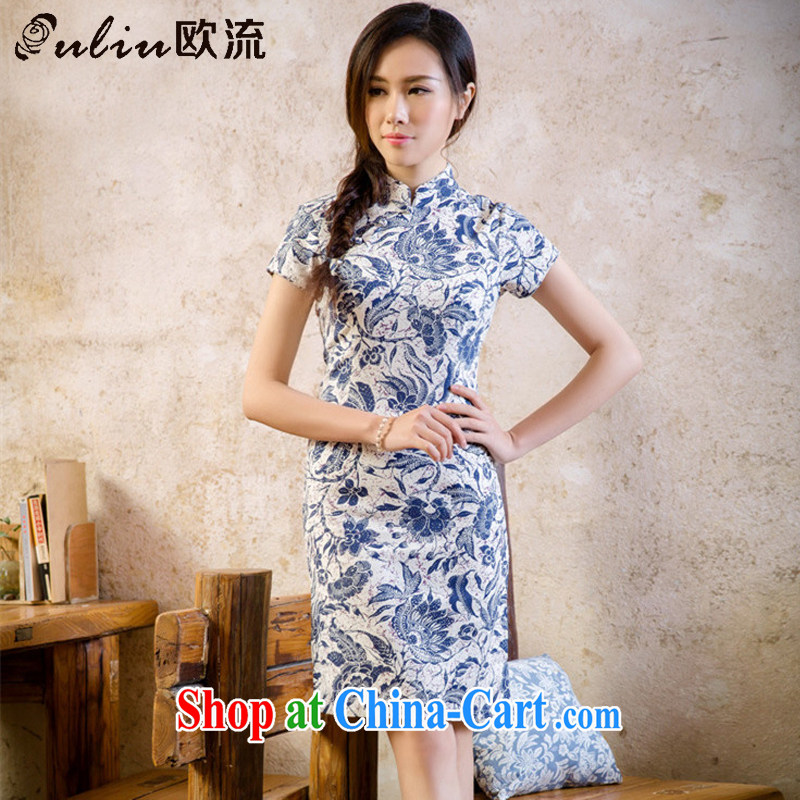 The stream summer retro linen floral cheongsam dress cultivating improved daily cheongsam dress AQE 2088 blue and white porcelain XXL