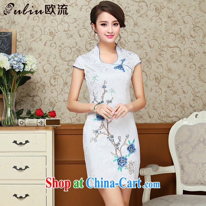 The current Chinese antique dresses summer white blue embroidery cheongsam dress improved daily female Chinese AQE 618 blue XXL