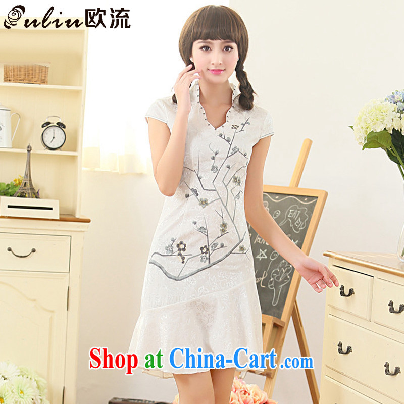 The flow summer and Stylish retro dresses improved daily cheongsam dress Ethnic Wind Korea Tang replace AQE 3386 white XL