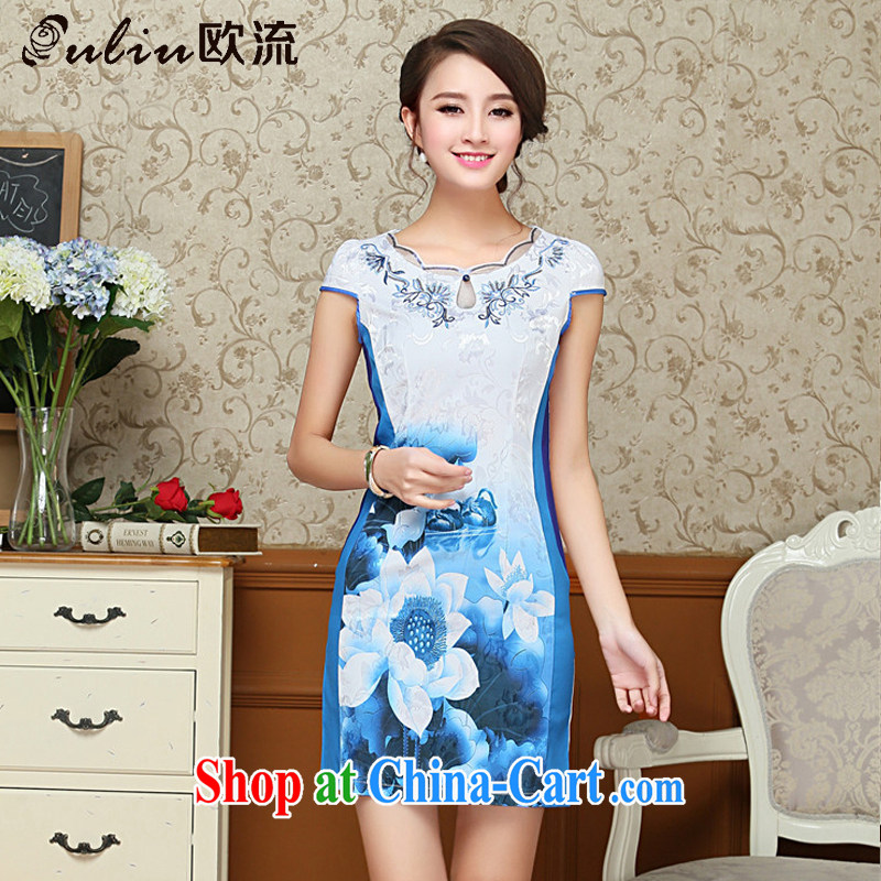 The trendy embroidery flower cheongsam cotton improved daily cheongsam dress Korea Tang with elegant female AQE 1025 blue S