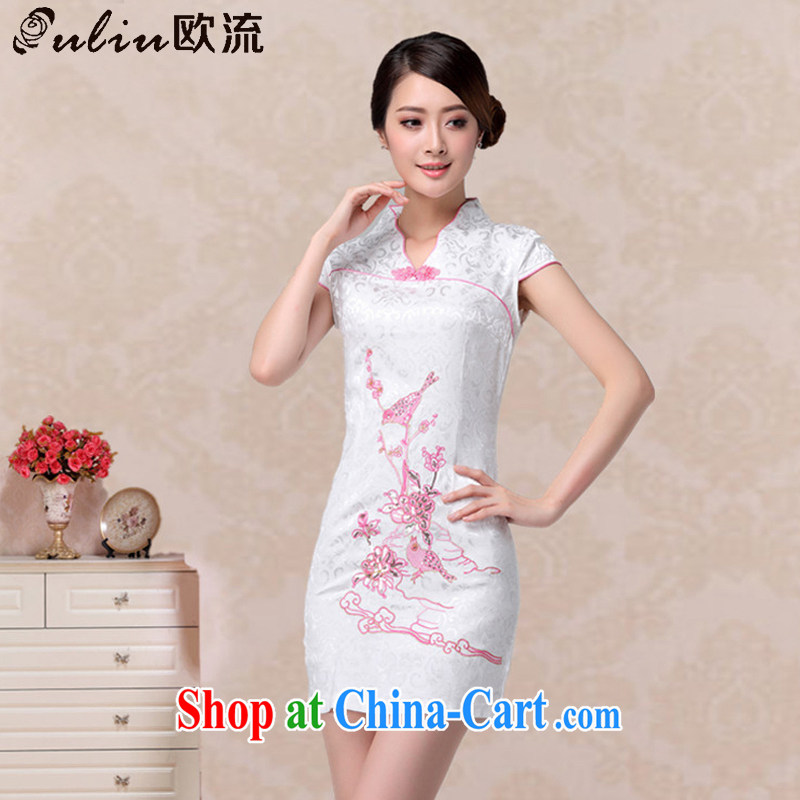 The current summer fashion beauty bird embroidery cheongsam short-sleeved retro improved daily Chinese qipao AQE 637 pink XXL
