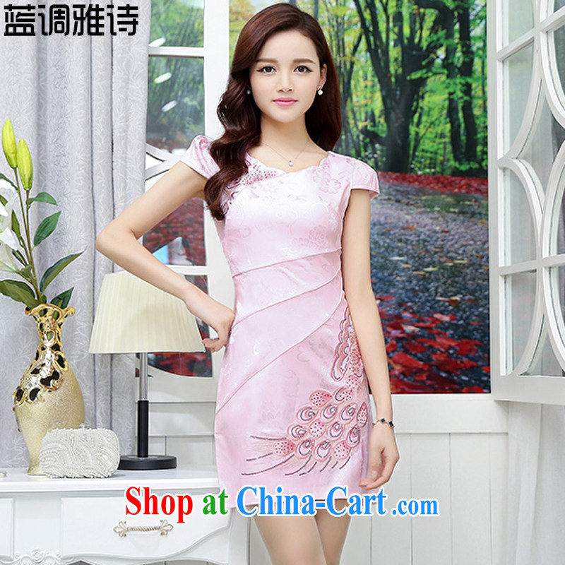 Blues, new dresses 2015 summer elegant antique Chinese wind flower embroidery cheongsam dress girls pink XXL
