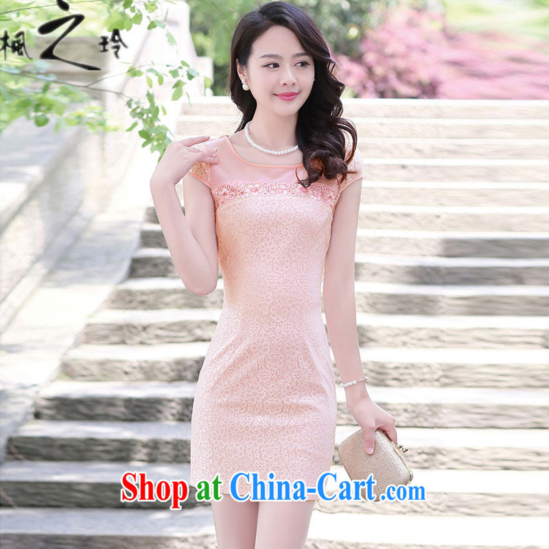 2015 summer new paragraph in cultivating long Ethnic Wind Chinese Antique improved cheongsam Tang pack and dress girls pink M