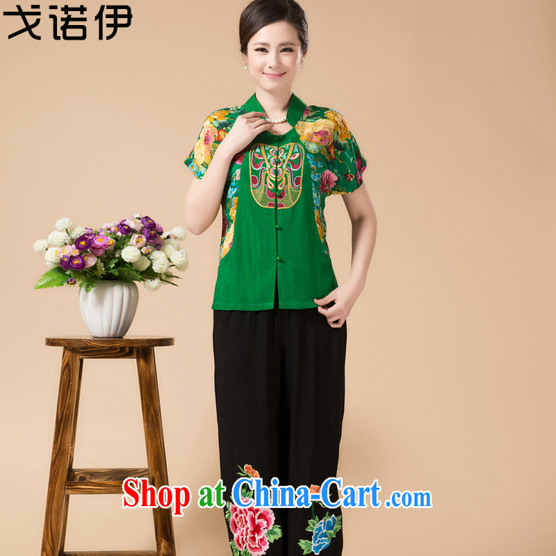 Al Gore, the Mother's Day in 2015 older women summer female Chinese mother load package ethnic wind flower embroidery t-shirt cotton pants the Commission's 1321 green dazzled 4 XL .
