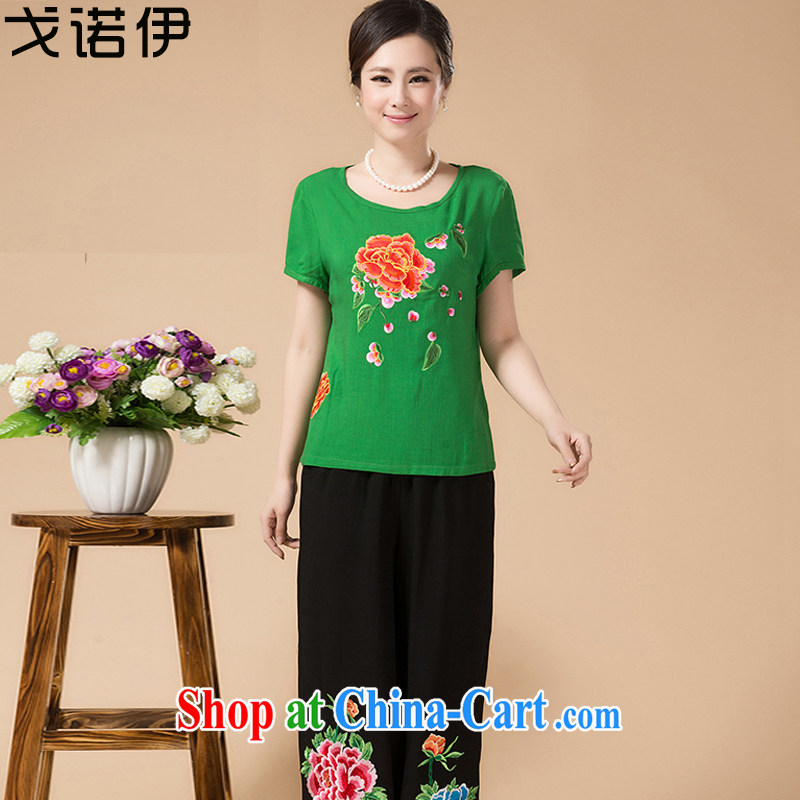 Al Gore, the 2015 code the mother load short-sleeved middle-aged and older female Summer Package middle-aged female Ethnic Wind Kit Mother's Day green 3XL .