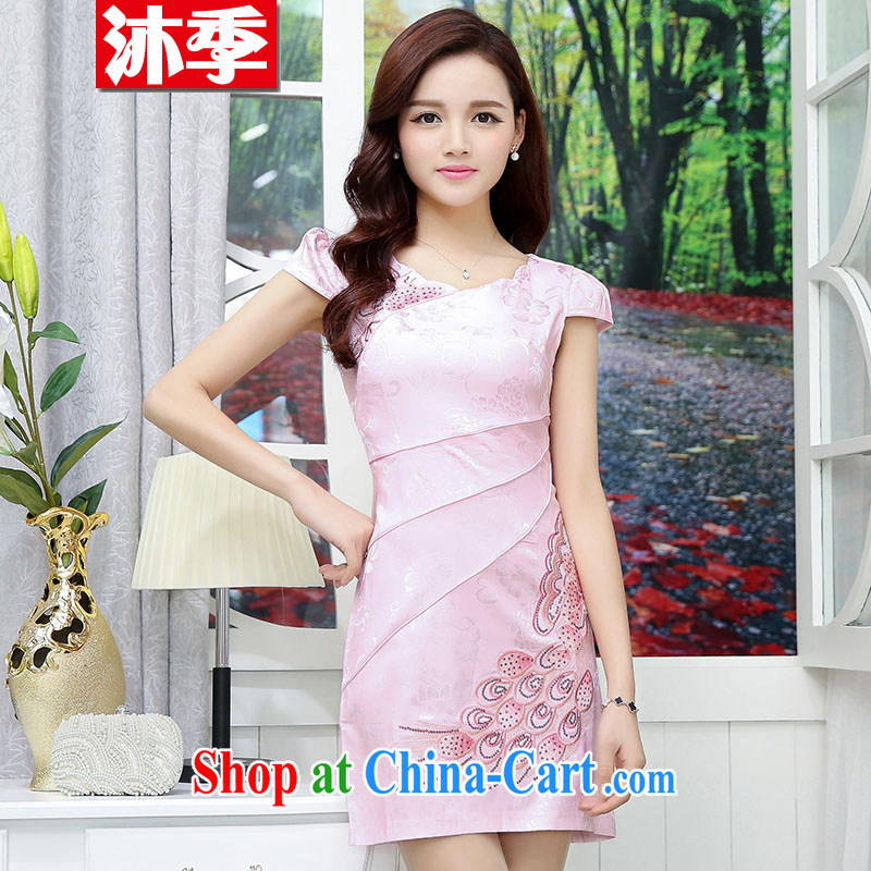 Mu season 2015 summer new women who are decorated in stylish improved cheongsam dress retro style 1560 red L