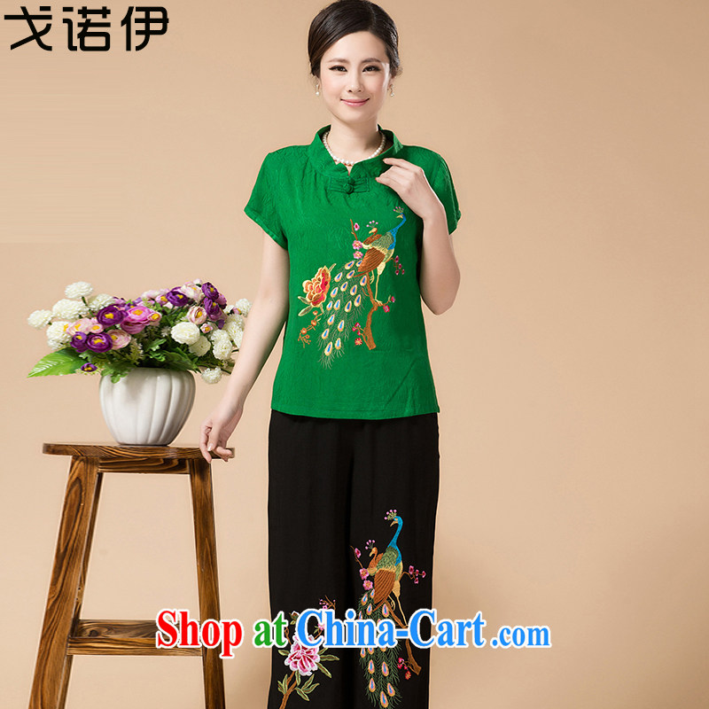 Al Gore, the 2015 middle-aged and older women with Ethnic Wind embroidery spend half sleeve T-shirt loose pants summer girls with Chinese mother load Kit green 3XL .