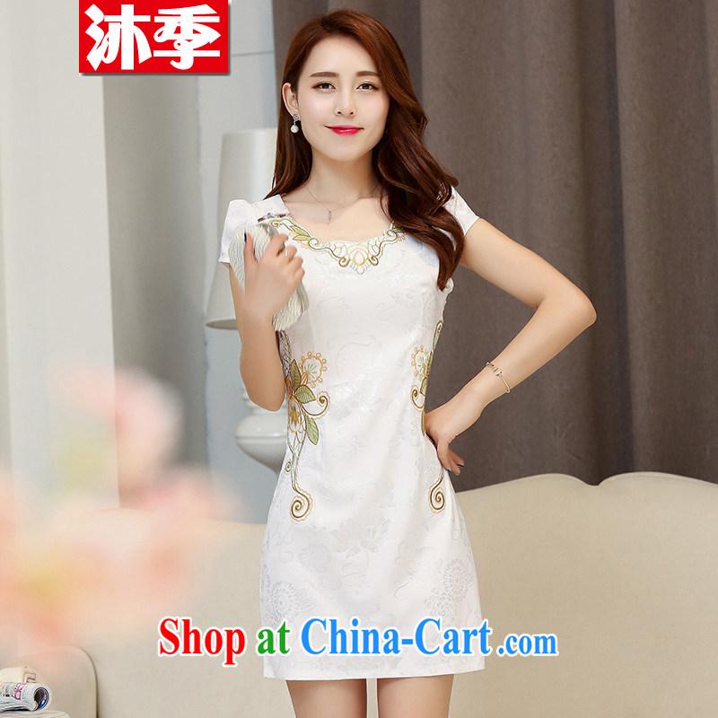 Mu season 2015 new summer lady stylish beauty improved cheongsam dress 1536 white M