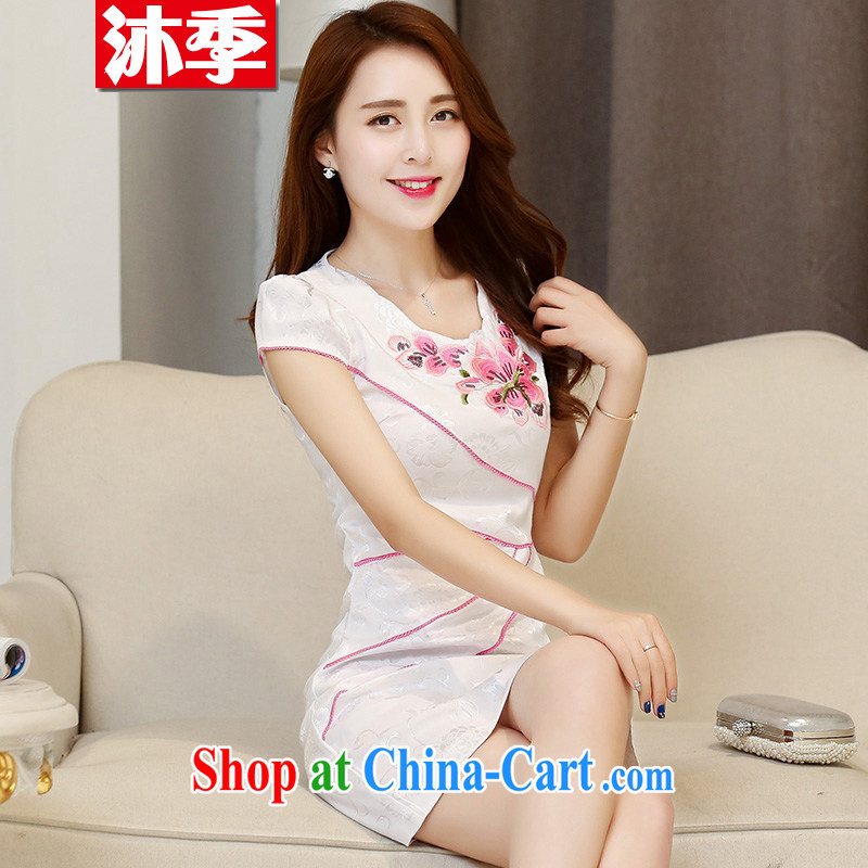 Mu season 2015 summer new female lace beauty fashion improved cheongsam dress retro style 1533 white red L