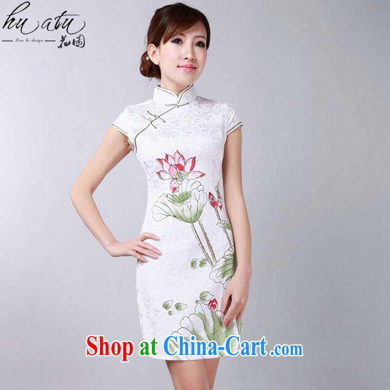 spend the summer, new outfit, Ms. Chinese improved, for hand-painted Lotus cotton Chinese qipao short skirts as shown color S