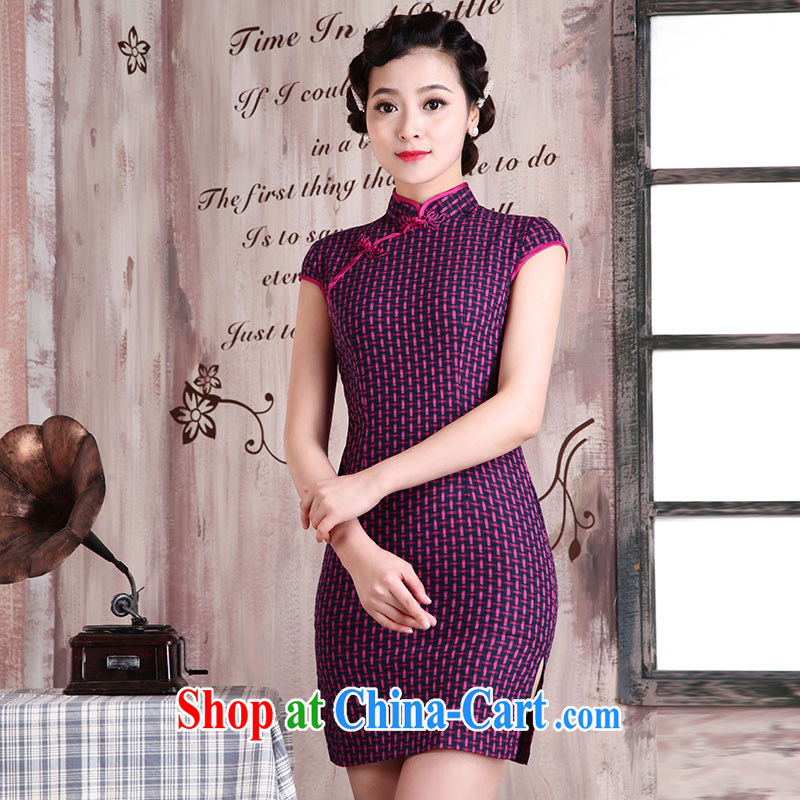 Jubilee 1000 bride's 2015 spring and summer new women with stylish retro improved cultivating graphics thin ethnic wind short tartan day qipao dresses X 2031, orderly XXL