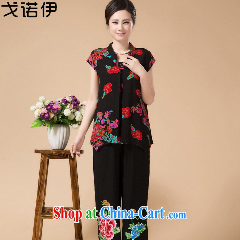 The Mother's Day of 2015 middle-aged and older women's clothing Summer Package middle-aged summer Ethnic Wind mom with older people's congress code package clothing black. L .