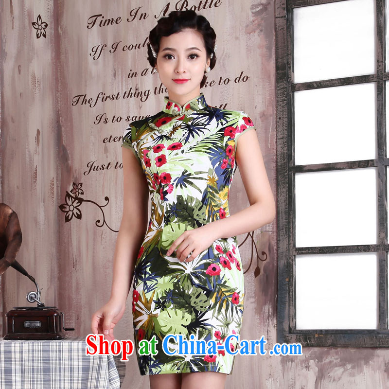 Jubilee 1000 bride's 2015 spring and summer new women with stylish retro improved cultivating graphics thin ethnic wind short daily dresses dresses X 2072 Yee-luo XXL
