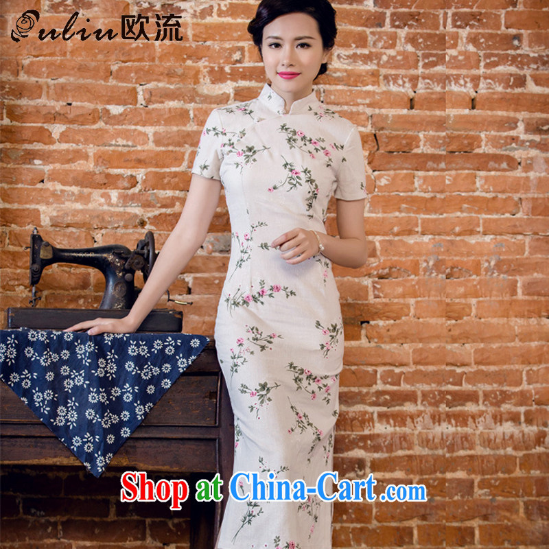 The flow unit the floral short-sleeved dresses in antique long dresses summer Chinese hospitality service forgetting D. AQE 2063 forgetting D. XL