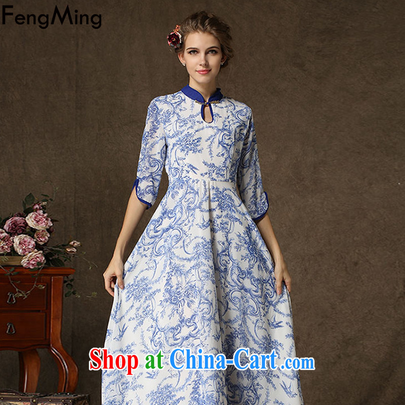 Abundant Ming 2015 spring and summer new improved cheongsam, the stamp duty Ethnic Wind dresses blue XL