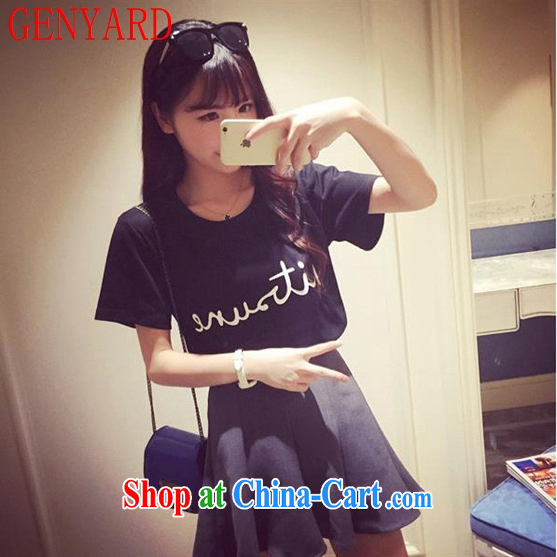 Deloitte Touche Tohmatsu store sunny spring female new Korean version 100 ground College wind and stylish letter short-sleeved shirt T female black are code