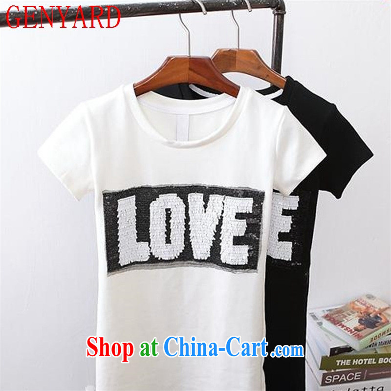 Deloitte Touche Tohmatsu store fine European site short-sleeve girls spring and summer new Korean students, boudoir with honey, T pension letter T-shirt black are code