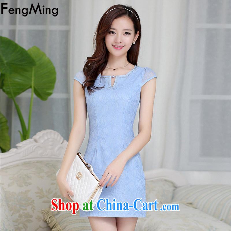 Abundant Ming summer 2015 New Beauty style cheongsam girl lace larger dresses blue XXL