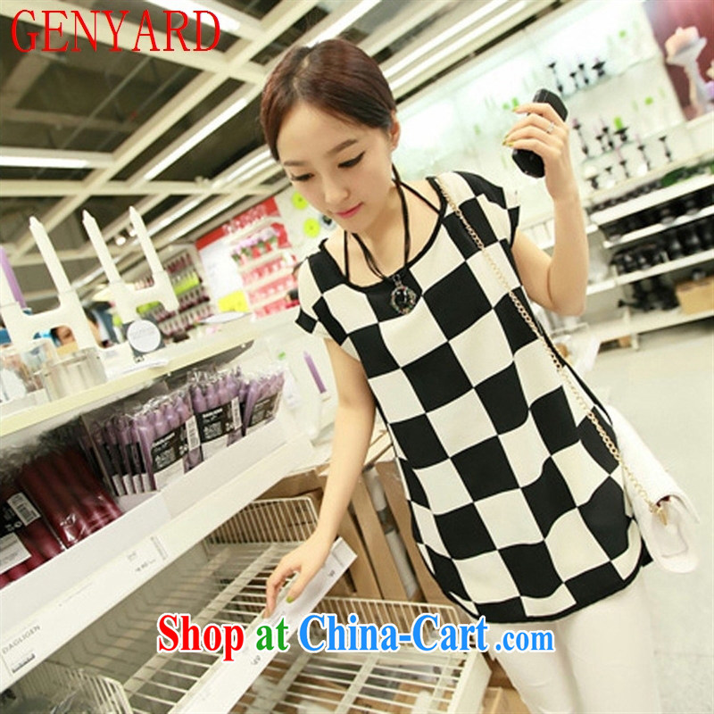 Qin Qing store 2015 the Code women mm thick Summer Snow checkered woven shirts loose long shirt T pension picture color XXXL