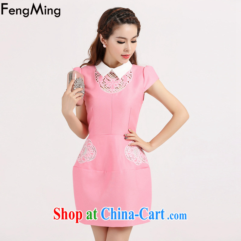 Abundant Ming summer 2015 new European high-end improved cheongsam girls hook take Openwork double-yi skirt pink XL
