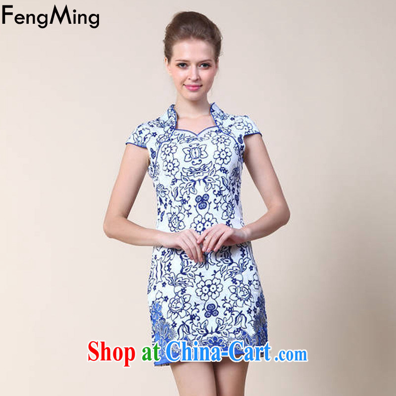 Abundant Ming summer 2015 New Classic qipao female Chinese improved blue and white porcelain embossed dresses blue XL