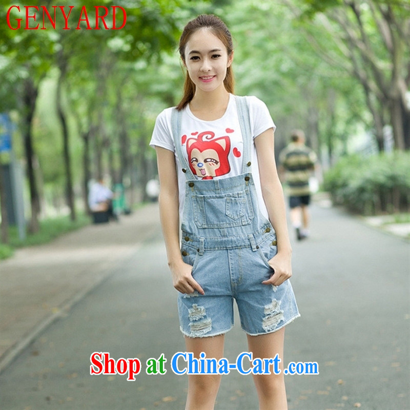 Qin Qing store 2015 spring new female Korean version of the Greater love, worn out loose jeans with shorts light blue XL