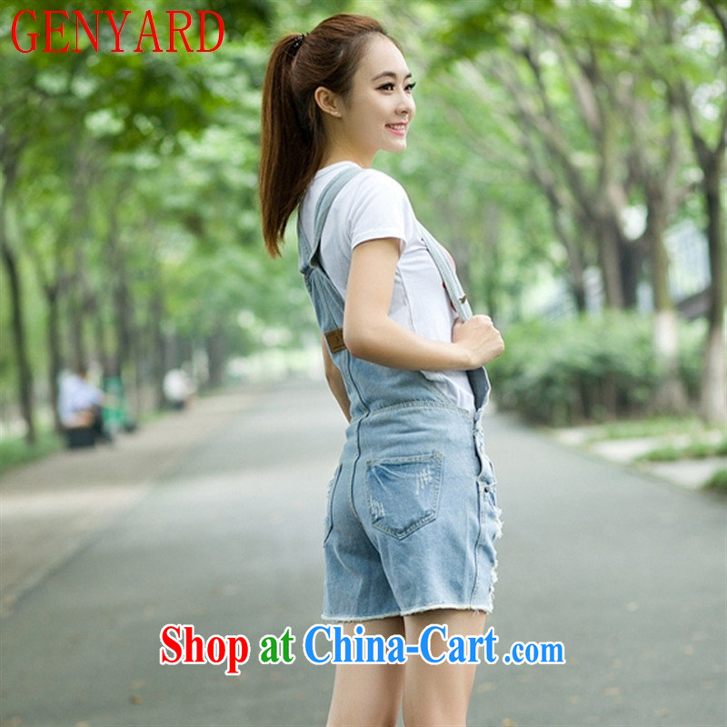 Qin Qing store 2015 spring new female Korean version of the Greater love, worn out loose jeans with shorts light blue XL, GENYARD, shopping on the Internet