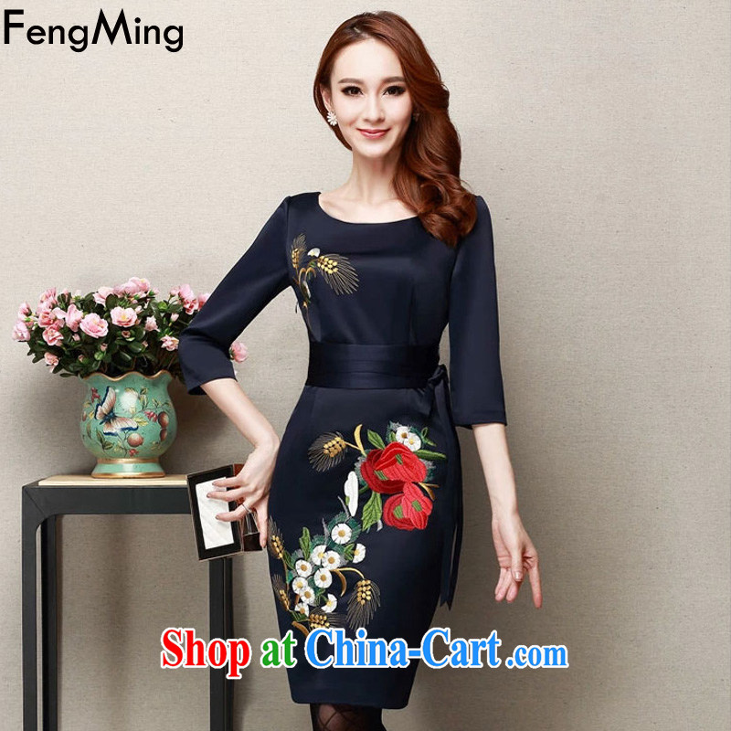 Abundant Ming 2015 spring and summer New evening gown dresses girl mothers with embroidery larger dresses hidden cyan XXXL