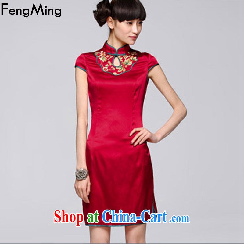 Abundant Ming summer 2015 new retro stretch Satin cheongsam girl, for embroidery dresses red L