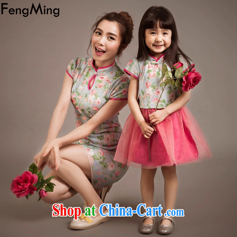 Abundant Ming 2015 summer new stylish parent-child replace ethnic wind lace dresses and women's clothing Kit skirt picture color 115CM