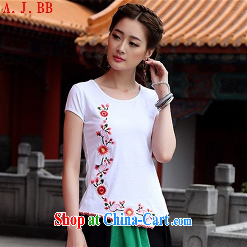 Black butterfly Ethnic Wind fashion round collar does not rule embroidered short sleeves shirt T beauty graphics thin blouses black 2 XL