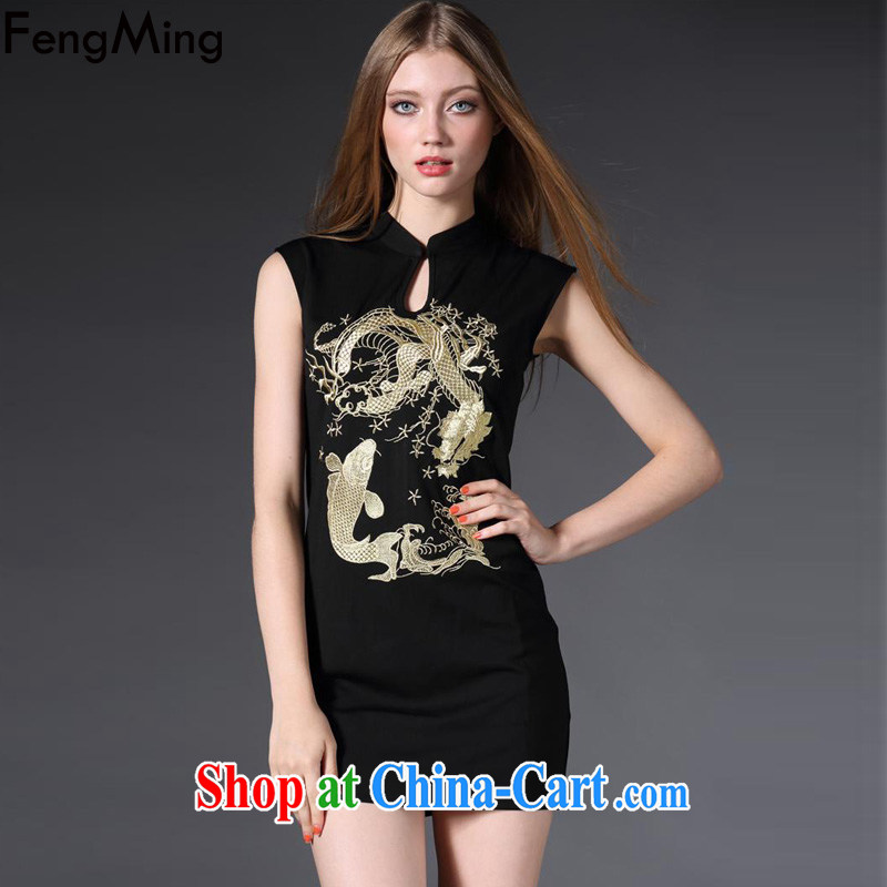 Abundant Ming summer 2015 new retro embroidery cheongsam dress female ethnic wind beauty dresses black XL