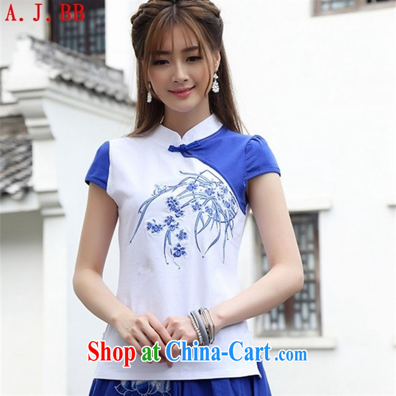Black butterfly Ethnic Wind small, embroidery for the buckle bubble short-sleeve shirt T Sau San knocked color female new solid white shirt 2 XL