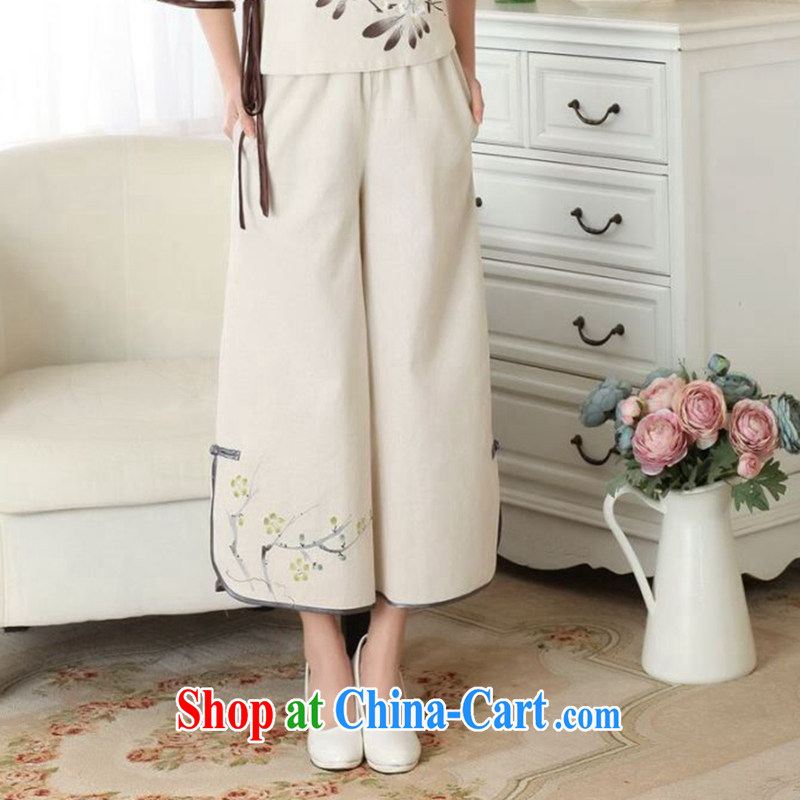 Dan smoke new summer Tang women Ms. pants elasticated waist costumed Han-wide leg Trouser press Ethnic Wind cotton the female trousers single pants L