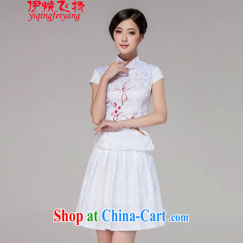 Red shinny summer 2015 new female daily dresses dresses high-end retro style two-part kit C C 518 1125 white L