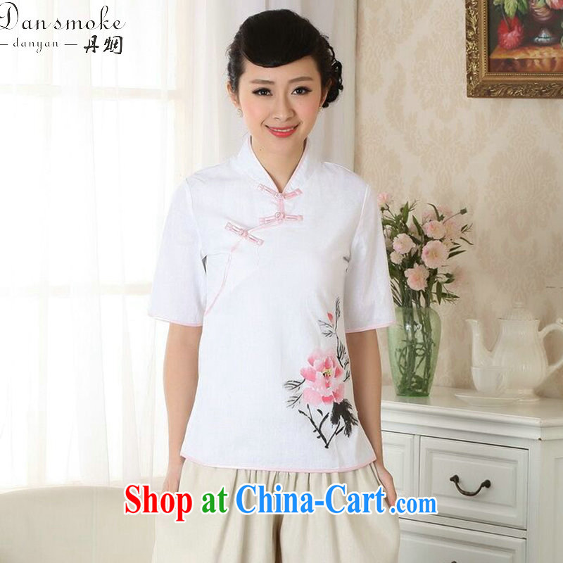 Dan smoke-free summer new, Chinese Han-ethnic wind Chinese improved hand-painted cotton the female Tang single T-shirt 2XL