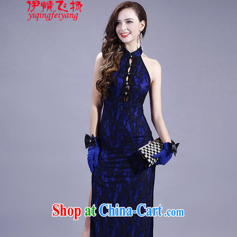 Red shinny 2015 new section on the truck night long dresses, Retro roses embroidery back exposed dresses T C 401 807 Po blue other