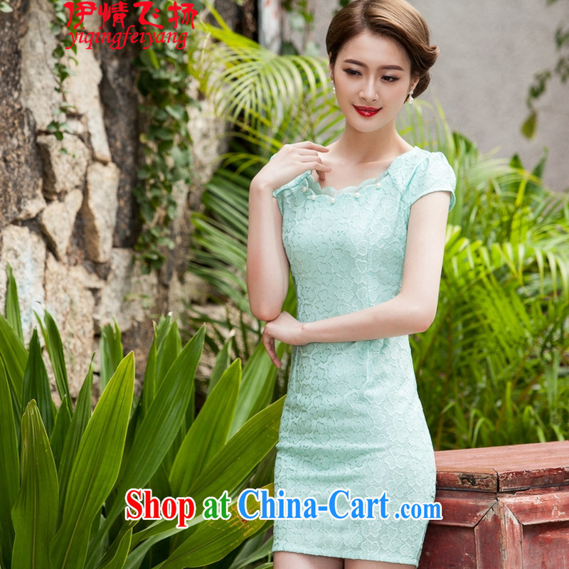 Red shinny 2015 summer new female lace cheongsam stylish beauty dress Openwork hook take C C 518 1106 Lake blue M