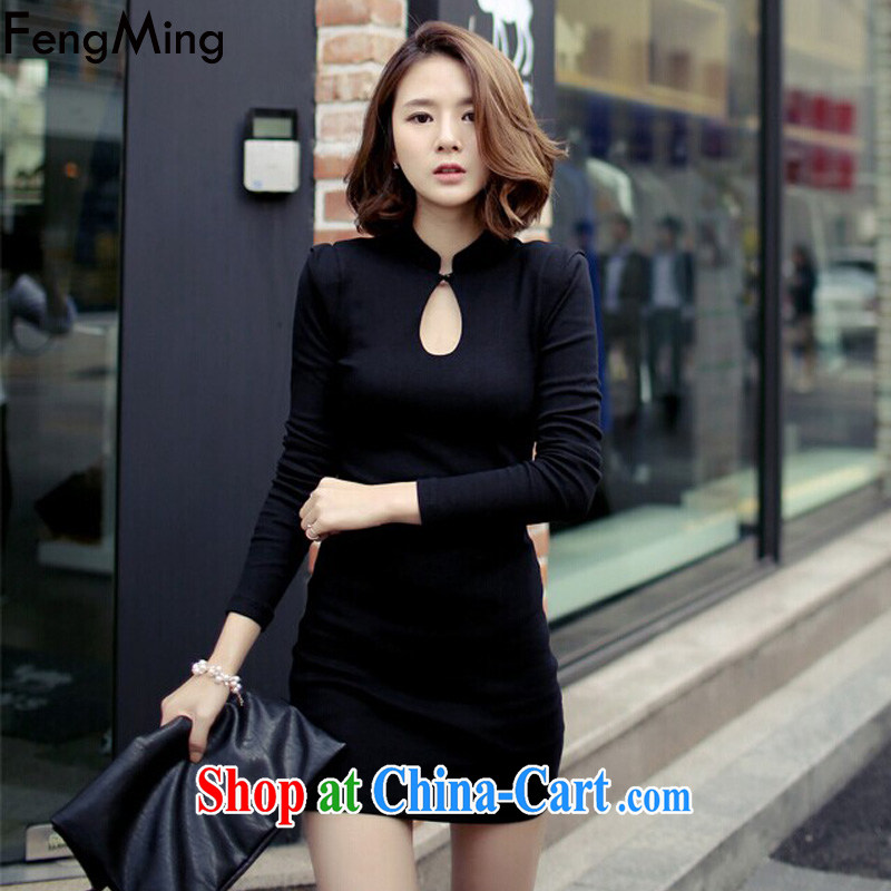 Abundant Ming spring 2015 New Beauty video thin package and sexy black outfit girls long-sleeved solid dress black XL