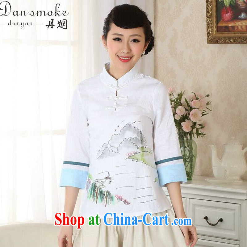 Bin Laden smoke-free new summer hand-painted dresses T-shirt, cotton clothes the Chinese nation, women leaders, Tang is improved as the color 2 XL