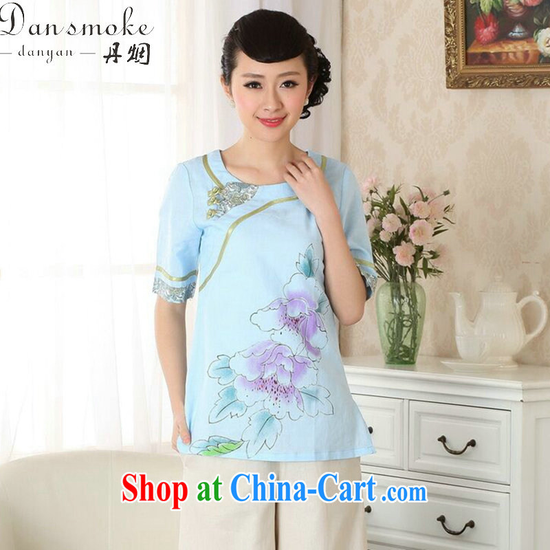 Dan smoke new dresses T-shirt cotton the Chinese Ethnic Wind round-collar blouses hand-painted Chinese detained the improved version as the color 2 XL
