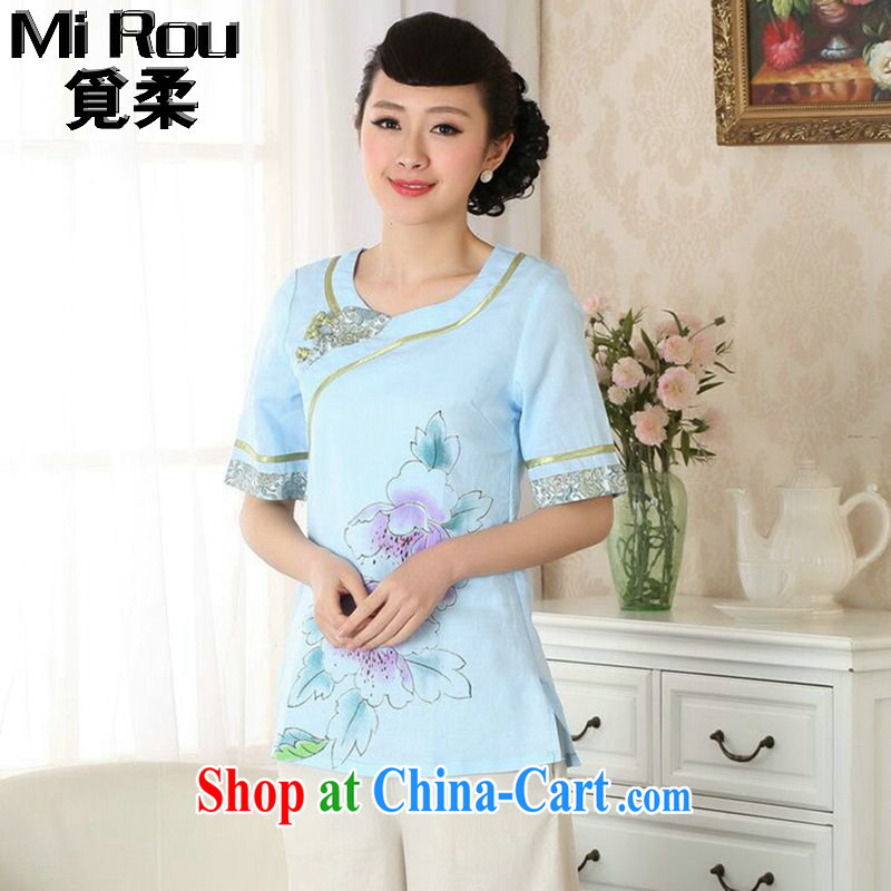 Find Sophie new dresses T-shirt cotton the Chinese Ethnic Wind round-collar blouses hand-painted Chinese detained the improved version as the color 2 XL