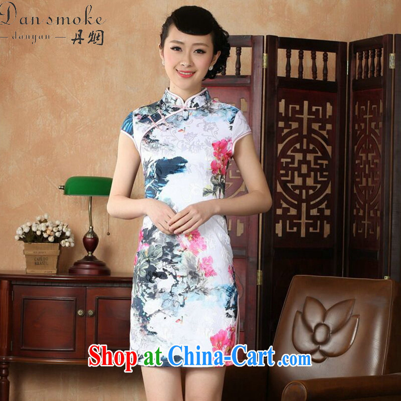 Dan smoke summer new female qipao improved Chinese qipao,Chinese, Chinese ink painting for cotton short cheongsam as shown color 2 XL