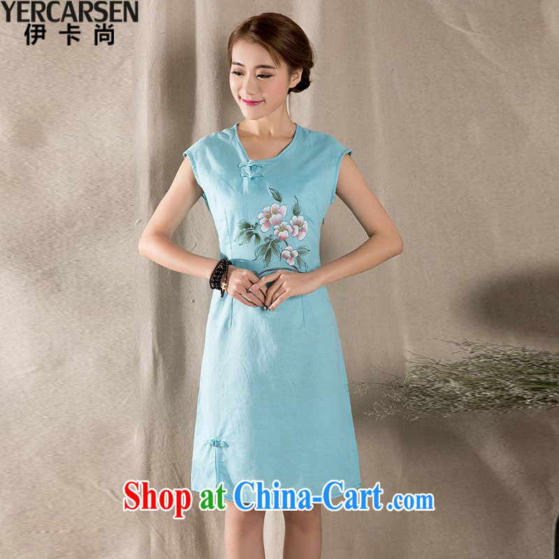 The card is still _YERCARSEN_ cotton Ma Sau San improved cheongsam dress New Literature and Art Nouveau cotton the female blue XL