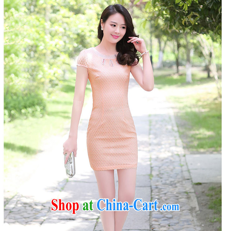 2015 summer short wave, cheongsam mom with cheongsam dress stylish girls improved Daily Beauty graphics thin style 1509 pink M