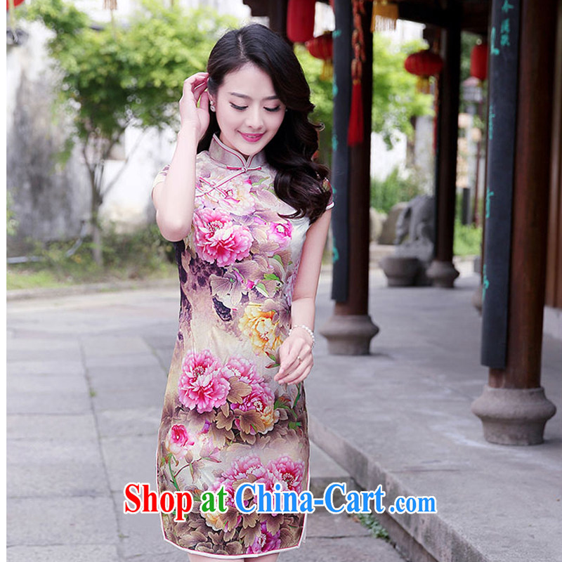 The female 2015 summer new improved stylish heavy Silk Cheongsam retro sauna Silk Cheongsam dress 1520 pink Peony M