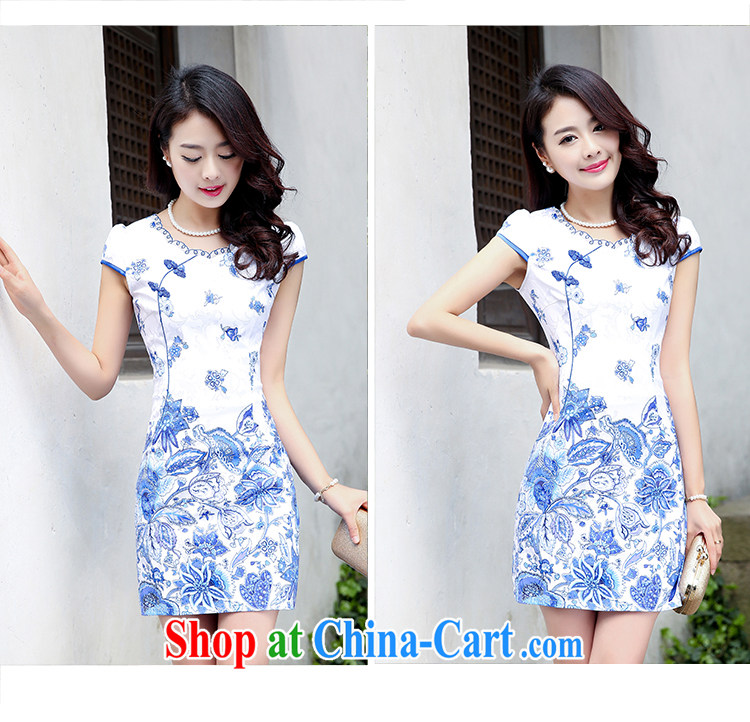 Summer 2015 new spring Stylish retro short Chinese qipao summer improved daily dresses jacquard cotton dress girl 5932 light blue flower M pictures, price, brand platters! Elections are good character, the national distribution, so why buy now enjoy more preferential! Health