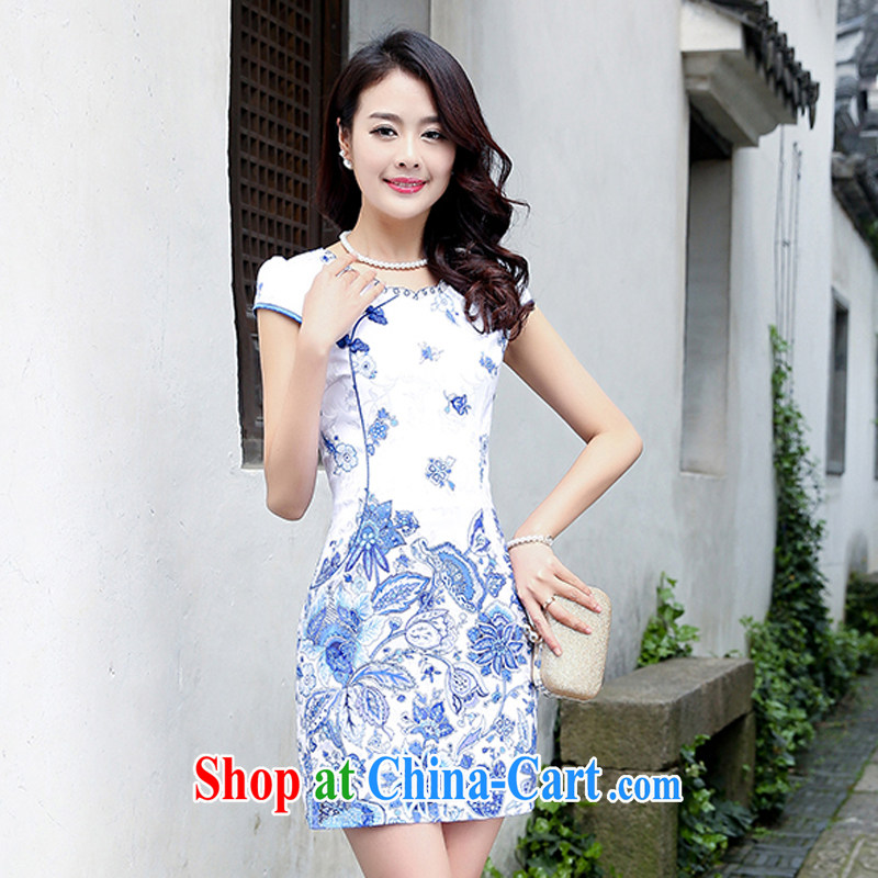 Summer 2015 new spring Stylish retro short Chinese qipao summer improved daily dresses jacquard cotton dress girl 5932 light blue flower M