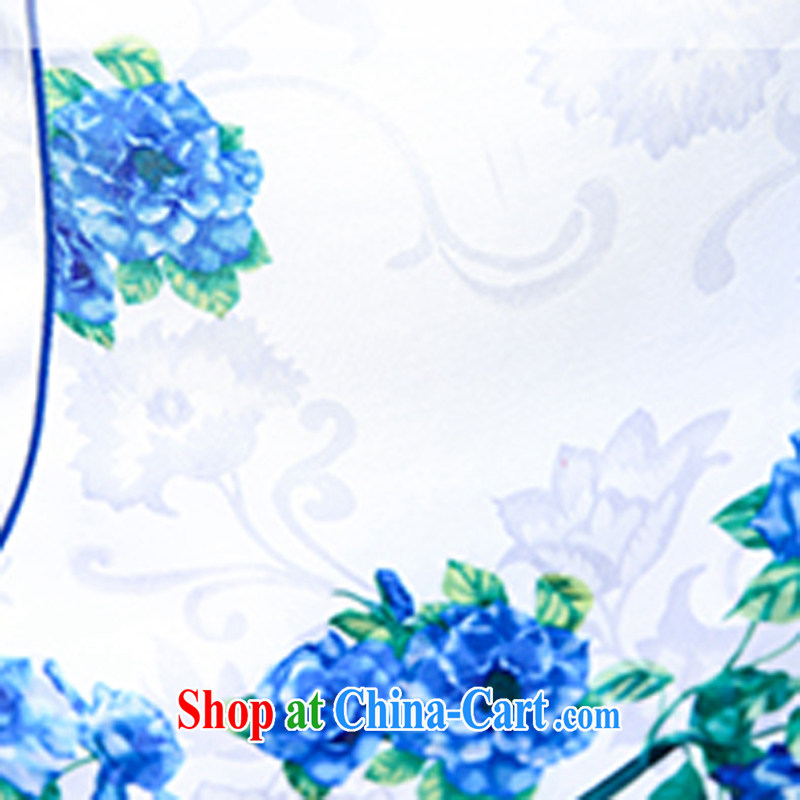 Summer 2015 New Spring and Autumn and Stylish retro short Chinese qipao summer improved daily dresses jacquard cotton dress girl 5932 light blue flower M, ballet of Asia and cruise (BALIZHIYI), online shopping